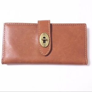 NWT Fossil brown genuine bifold leather wallet